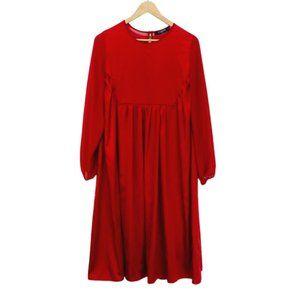 CAARA Red Satin Flowy Over-Sized Midi Dress